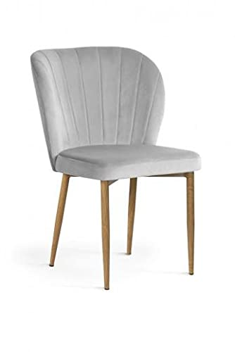 Gepolsterter Stuhl mit Stoff und Metallbeinen, Shelly Velvet Silver/Eiche, 58 x A63 x 86 cm