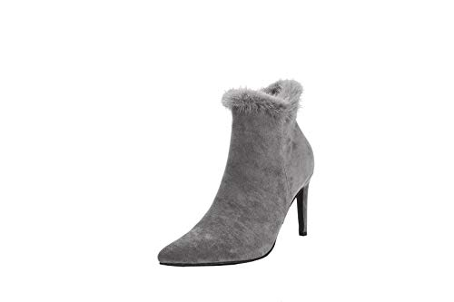 Mila Lady Pointed Toe Ankle with Fur Booties Dressy Stiletto Heels (Sabrina-2) Grey 8