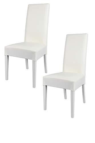 Tommychairs - Set 2 sedie modello Luisa per cucina bar e sala da pranzo, robusta struttura in legno di faggio verniciata bianco, seduta e schienale imbottiti e rivestiti in pelle artificiale bianco