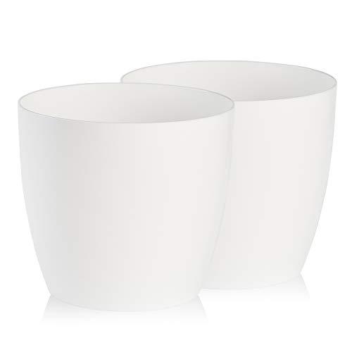 TYMAR Blumentopf, 2er-Pack, Pflanzentopf aus Kunststoff, Moderne, matt, Runde Form (Weiß, ø 12 cm)