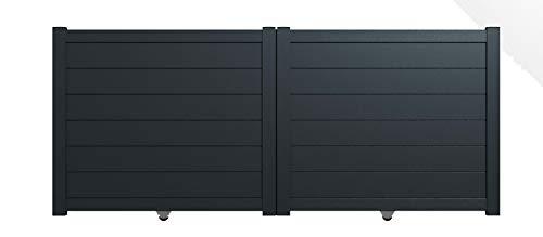 Packit - Portail aluminium coulissant plein en kit dimension L.3500 (entre piliers) X H.1500 mm couleurs Gris (RAL 7016)