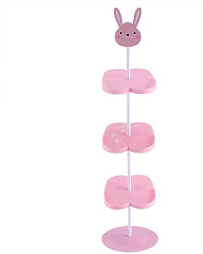 A-Generic Zapatillas para niños Zapatero Rack 4 Capas de Dibujos Animados Animal patrón Zapatos portátil Estante para Ahorrar Espacio (Conejo)-Conejo