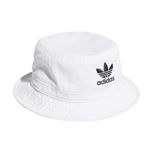 adidas Originals Unisex Washed Bucket Hat, White/Black, ONE SIZE
