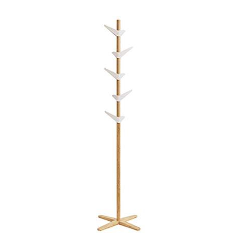 Hochwertige freistehende Holzgarderobe mit 10 360 drehbaren Haken und 3 stabilen Holzzinken, um das Gleichgewicht zu halten und Platz zu sparen