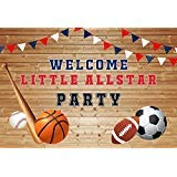 Baocicco 7x5ft Welcome Little Allstar Party Backdrop Sport Meet Basketball Football Baseball Rugby Boy Player Competition Poster Backdrop Wood Backdrop Banners Sports Photography Background