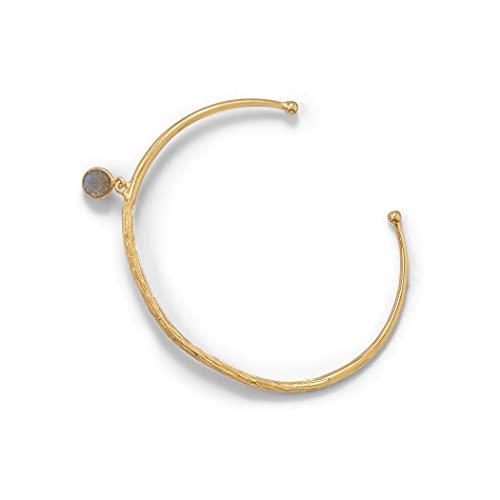 Brazalete de latón de oro de 14 quilates con pulsera de labradorita de 6 mm a un lado mide 60 mm a través de joyas regalos para mujeres