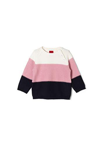 s.Oliver Unisex - Baby Strickpulli mit Blockstreifen ecru stripes 62