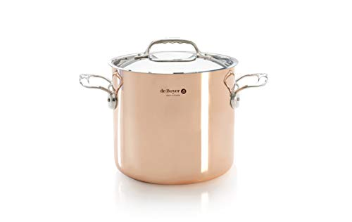 PRIMA MATERA Round Copper Stainless Steel Stockpot 8-Inch with lid