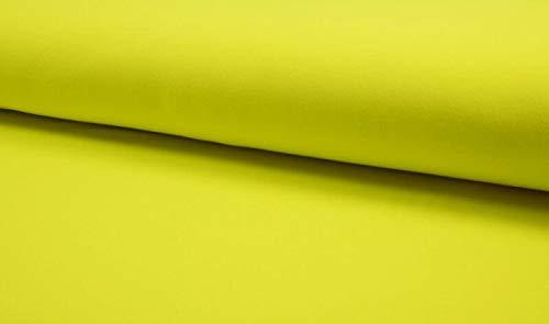 Qualitativ hochwertiger unifarbener Jersey Stoff in Neon Gelb als Meterware zum Nähen von Erwachsenen, Kinder- und Baby Kleidung, 50 cm