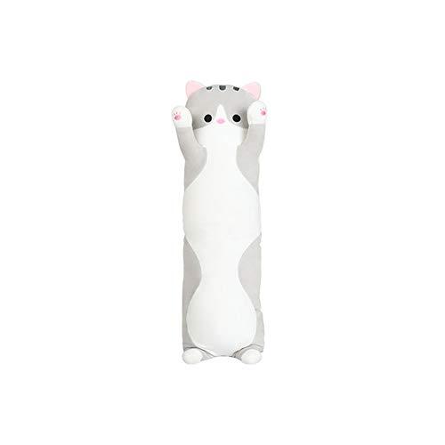HUOQILIN Knuffel kat bed kussen lang kussen pop schattige pop knuffel pop gift (Color : Gray, Size : 70cm)