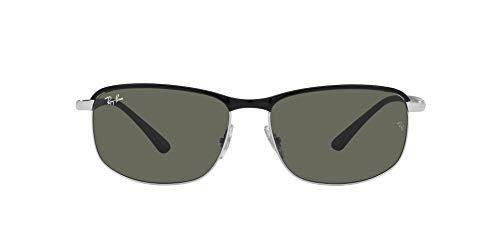 Ray-Ban 0RB3671 Gafas, BLACK ON SILVER, 60 Unisex Adulto