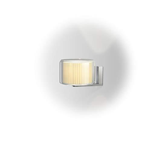 Aplique de Pared E14 FBA 9W con Pantalla de Cinta de algodón y Estructura de Cristal soplado Transparente, Modelo Mercer A Aplique, Color Crudo, 24,3 x 24,3 x 15,3 centímetros (Referencia: A89-050)