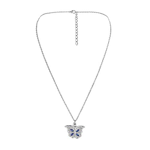 Holibanna Collar de Mariposa de Cristal Mariposas de Diamantes de Imitación Colgante de Caja de Fotos Collar Cadena de Clavícula Joyería Gargantilla para Mujer Regalo de Cumpleaños Plata