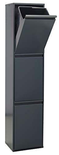 ARREGUI CR304-B Basic Stahl, Mülltrennsystem mit 3 Inneneimer, Mülleimer für die Küche, Abfallbehälter mit separater Recycling-Einheit, 51 L, Anthrazit, 133,5 x 30,5 x 24,5 cm