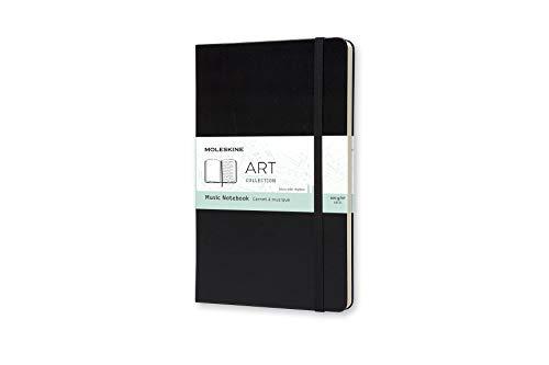 Moleskine Art Collection Musikbuch (mit Hardcover und elastischem Verschluss, Papier für Kugelschreiber, Stifte und Füllfederhalter, Groß 13 x 21 cm, 192 Seiten) schwarz