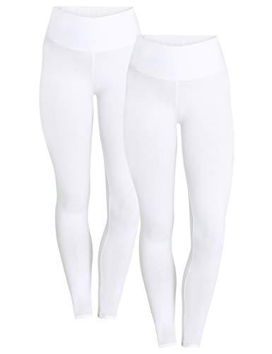 Berydale Hochbund Leggings, Blanco Weiß), 44 (Talla del fabricante: X-Large), Pack de 2