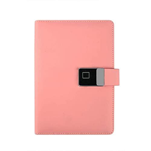Riyyow Cuaderno de Bloqueo de Huellas Dactilares Inteligente, Diario de Cuero de Carga USB, para reuniones de Negocios Registros Bloc de Notas de Hojas Sueltas (Color : Pink)
