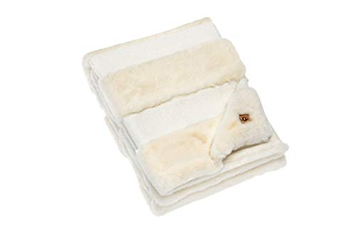 UGG – Demi Faux Fur Striped Throw Blanket – Soft Accent Blanket - Snow