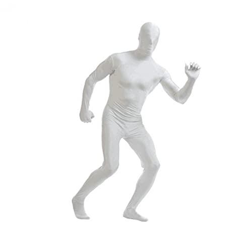 Spandex Bodysuit Cuerpo Completo Zentai Skin-Tight Spandex Traje Unitard Adulto Cuerpo Completo Trajes de Cuerpo Lycra Vestido de Lujo Halloween Mostrar Disfraces Blanco L, Spandex Body