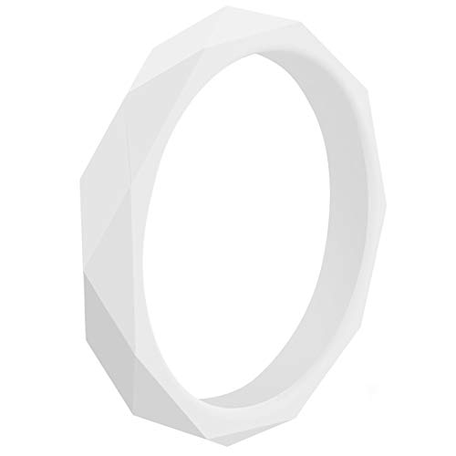 EMBNN Silicone Wedding Rings for Women Men, Skin-Friendly Rubber Wedding Bands, Thin Comfy Colorfast Stackable Kit, Set of 1, White, Size 7 (17.3mm)