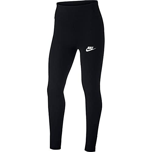 Nike Girls G NSW Favorites GX HW Legging, Black/White, M