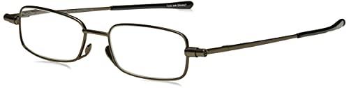 Foster Grant Gavin Fold Flat Rectangular Reading Glasses, Gunmetal/Transparent, 59 mm + 2