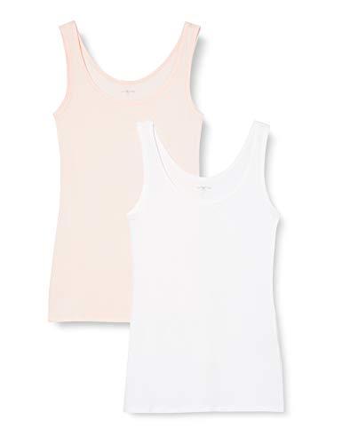 IRIS & LILLY Camiseta de Tirantes de Algodón para Mujer, Pack de 2, 1 x Blanco & 1 x Rosa Claro, Large