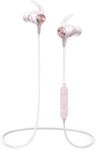 Bluetooth Kopfhörer In-Ear, Boltune Sportkopfhörer 16 Std. Spielzeit IPX7 Wasserdicht Magnetisch Clip für iPhone Android uws (Rosa)