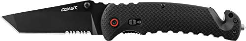 """Coast RX395 Blade Assist Tactical Folding Knife with 3.75"""""""" Serrated Stainless Steel Blade"""" (20921)"""