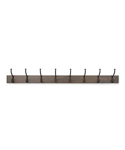 AmazonBasics - Perchero de madera de pared, 8 ganchos estándar 92 cm, Nogal