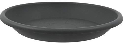 MePla Untersetzer für Pflanzkübel Cilindro rund, 24 cm Durchmesser, anthrazit, wetterfestes Pflanzgefäß aus UV-beständigem Kunststoff