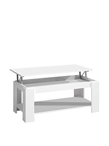13Casa Future A2 Tavolino Sollevabile, Melamina Legno, Bianco, 102x50x43 cm