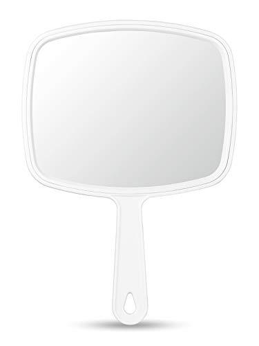 OMIRO Handspiegel, Weiß, mit Griff, quadratisch, Größe M