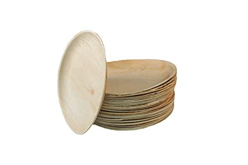 Ecorigin Palmware Platos de Hojas de Palma 26 cm. 25 piezas de platos redondos Desechable, compostable y biodegradable.