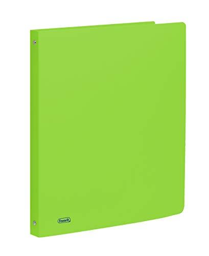 Favorit Raccoglitore in Polipropilene Neon, 22 x 30 cm, 4 Anelli Tondi da 15 mm, Verde Fluo
