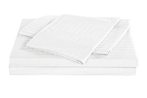 Wasserbett-Bettlaken, King Size, Fadenzahl 600, 100 % Baumwolle, 38,1 cm, tiefe Taschen, befestigtes Wasserbettlaken-Set, 4-teilig, Hotel-Luxus-Bett, extra weich, weiß gestreift