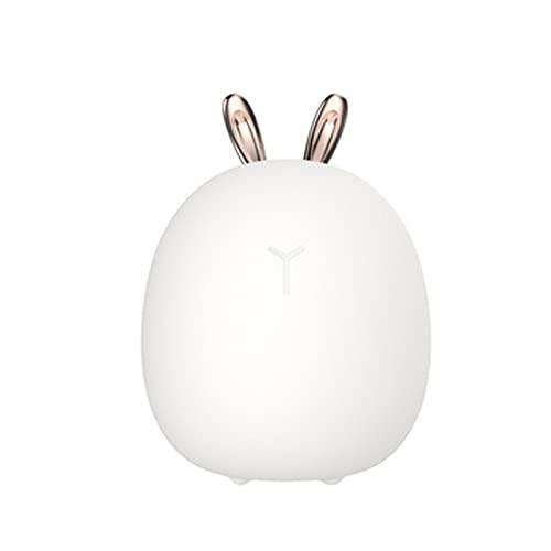 SWWS Lindo conejo silicona Pat luz creativa lindo ciervo Usb noche luz, noche creativa dibujos animados LED lámpara de mesa linda luz de noche, iluminación recargable USB dormitorio conejo