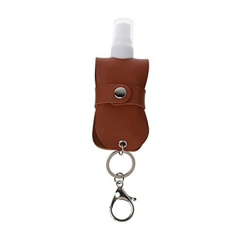 HKMB Botella de Spray portátil de 50 ml, Botella de Viaje Recargable de plástico a Prueba de Fugas vacía con Soporte para Llavero de Cuero