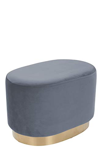 Samthocker Pouf Gold Messing Sitzhocker Samt Retro Hocker Oval Grau