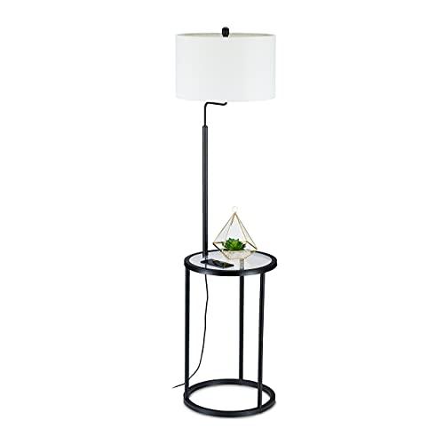 Relaxdays Lámpara de pie con mesa, altura x profundidad: 156 x 40,5 cm, casquillo E27, cristal, metal, diseño moderno, color negro y blanco