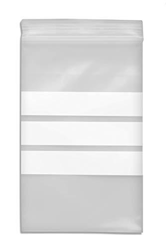 WeltiesSmartTools Premium Druckverschlussbeutel mit Stempelfeld 90µ 160x220mm DIN A5 100 Stück - 3 weiße Beschriftungsstreifen - 11 verschiedene Größen zur Auswahl