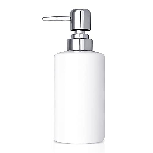 Dozownik mydła, 300 ml ceramiczny dozownik płynu do napełniania balsamem do rąk butelki szampon odżywka żel pod prysznic naczynie pojemnik do przechowywania detergentu do łazienki blatu kuchni pralni - biały