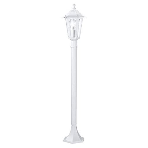 EGLO Außen-Stehlampe Laterna 5, 1 flammige Außenleuchte, Stehleuchte aus Aluguss und Glas, Farbe: Weiß, Fassung: E27, IP44