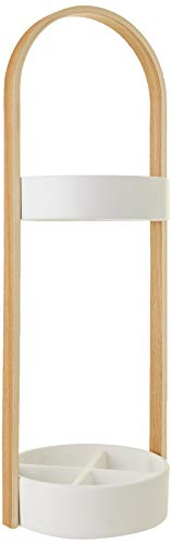 UMBRA Hub Umbrella. Porte-parapluies Hub. Bois coloris naturel et métal blanc. Dimension 22.2x68.6cm.