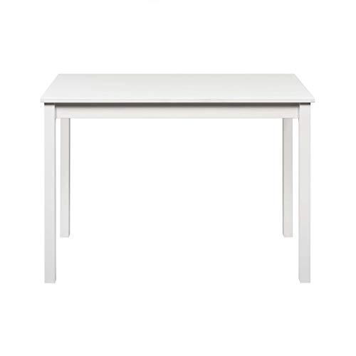 hagge home Schreibtisch Massivholz Nordisches Kiefer, Computertisch, Gamingtisch, Pc Tisch, Büro 110x60 cm, Höhe 75 cm, Einfacher Aufbau, Tischbeine Holz, Weiß