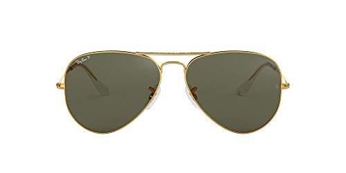 Ray-Ban RB3025 Classic Aviator Sunglasses, Gold/Green Polarized, 62 mm