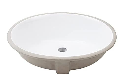 Lavabo Bajo Encimera o Soto Encastre baanio, Porcelana Blanca Ovalado MAHÓN de 54x34x16cm con Rebosadero para Mueble de Baño. Pila de diseño Elegante, Ideal para ambientes rústicos o clásicos
