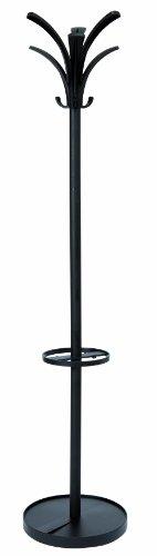 Alba PMBRIO N metalen zwart kledingrek garderobestandaard stabiel 12 haken ideaal voor garderobe in gang foyer kantoor 175, 5 cm (H)