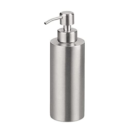 Sinolofty - Dispenser di sapone rotondo in acciaio inox 304, per cucina, bagno, hotel, lavanderia, 550 ml