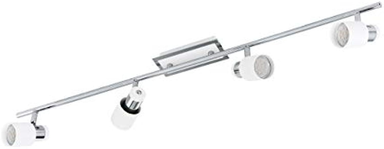 EGLO Spot Deckenbeleuchtung, Stahl, GU10, Chrom-wei, 78 x 7 x 16 cm
